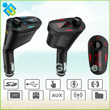 New Remote Car Kit LCD MP3 Player Wireless FM Transmitter with USB SD MMC Slots 3 Colors support 87.5-108.0MHz FM Radio