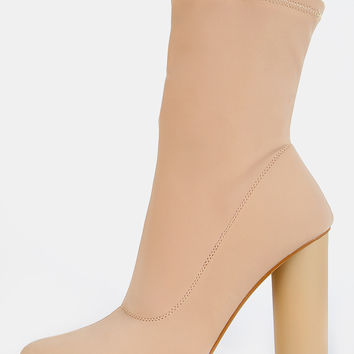 Pointy Toe Cylinder Heel Boots NUDE | MakeMeChic.COM