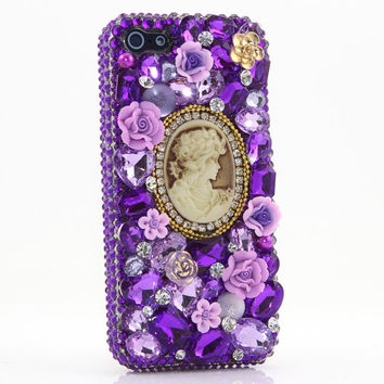 iphone 5 5S 5C 4/4S - Samsung S3 S4 Note 2 3 - Handcrafted Case Cover 3D Luxury Bling Crystal Diamond Loyal Purple Lavender Rose flower_046