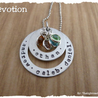 Personalized Necklace Hand Stamped Jewelry - Custom Mom Grandma or Family Name Stack