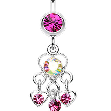 Sparkle Multi Heart Belly Button Ring