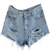 Sheinside Blue Mid Waist Ripped Denim Short