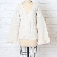 White V-Neck Cable Knit Sweater