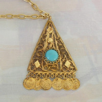 Vintage Art Deco Egyptian Revival Pendant Necklace Canetille Turquoise Jewelry