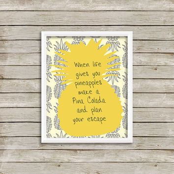Pineapple Pina Coloda Wall Art, Print 8 x 10 INSTANT Digital Download Printable
