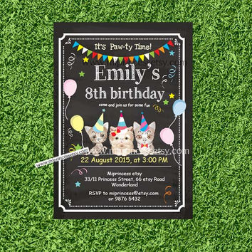 kitten CAT Birthday Invitation, kids any age, 1st 2nd 3rd 4th 5th 6th 7th 8th 9th 10th kids party boy or girl, card 461