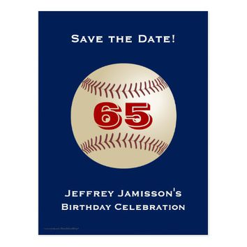 Save the Date 65th Birthday Baseball Postcard