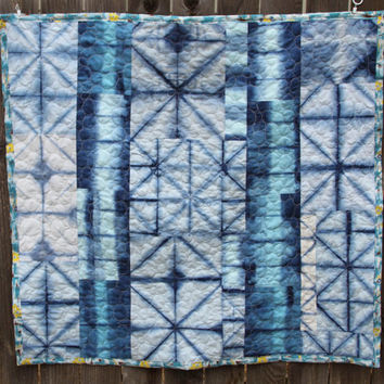 Hand Dyed Shibori Quilt- Gender neutral baby quilt with indigo and yellow vintage cotton backing