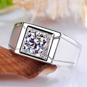 Moissanite Solitaire Men Ring Solid White Gold 18K Jewelry for Male Simulate Diamond Moissanite 1CT AU750 His Ring Engagement
