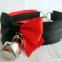 Harley Quinn Collar [Made to Order] Red and Black Pleated Kitten Play/Pet Play Collar