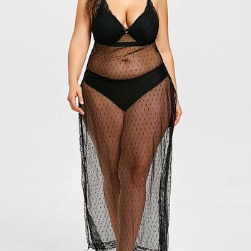Mesh Plus Size Slit Cover-up Dress