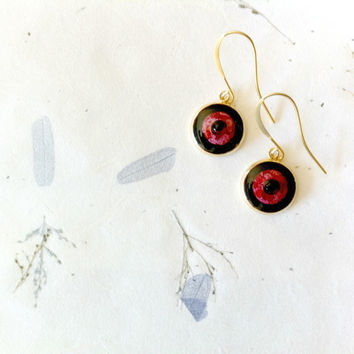 Gold Plated Drop Earrings, Black and Red Dangle Earrings, Paper Jewelry, Dangle Drop Earrings