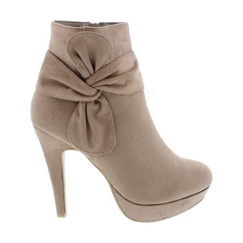 Knotted Suede Ankle Bootie