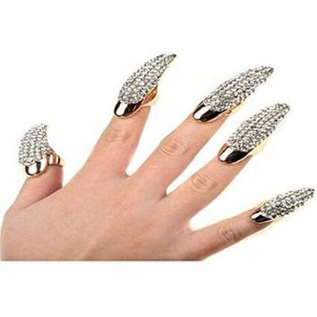 Set of 5 Punk Style Eagle Claw Ring Gothic Jewelry False Nail Retro Clear Crystal Talon Finger Ring Knuckle Bend Fingertip Claw for Cosplay Paty
