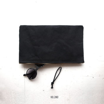 Large waxed black canvas zipper pouch, supplies case, tool bag - Volcano Store