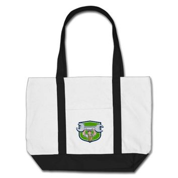 Mechanic Lifting Spanner Wrench Shield Cartoon Tote Bag