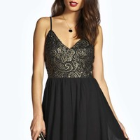 Clair Woven Crochet Lace Skater Dress