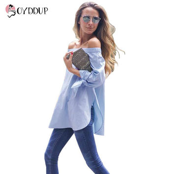 2017 Women Summer Elegant Fashion Blouse Strapless Striped Blue White Shirt Bow Long Sleeve Plus Size tops Shirts DDUP5