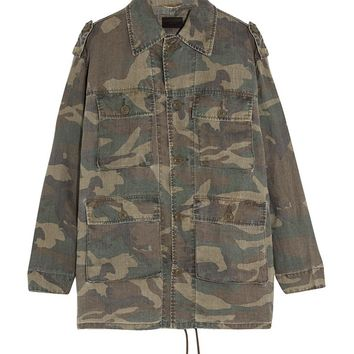 Indie Designs Saint Laurent Inspired Camouflage-print Ramie Jacket