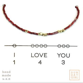 Friendship Bracelet - I Love You 143  - Ruby Slipper