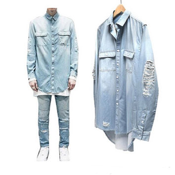 2016 New Man Distressed Denim Shirts Mens Hip Hop Blue Cowboy shirt Long Sleeve Hiphop Streetwear Swag Tyga Top Tee Clohes