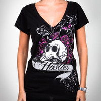 Hustler 'Skull Candy' Slasher-Back Junior Fitted Tee
