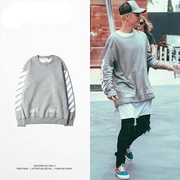 new white virgil abloh hoodie fashion 2016 justin bieber purpose tour sweatshirts punk rock tracksuits sportwear jumper