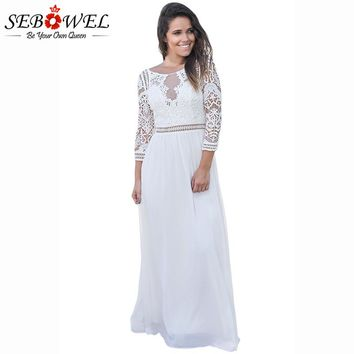 SEBOWEL 2018 NEW Elegant White Lace Crochet Maxi Dress Women Chiffon Party Dresses Quarter Sleeve Ladies Vestidos De Fiesta S-XL