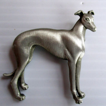 JJ Vintage Pin Dog Greyhound Whippet- Jonette Jewelry brooch accessory- Unique Gift under 20- Artifacts collectible