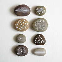 Air and Earth - Collection of 8 Painted Stones with Nature Inspired Designs - by Natasha Newton