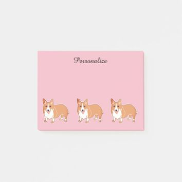 Corgi Dogs Light Pink Custom Post-it® Notes 4 x 3