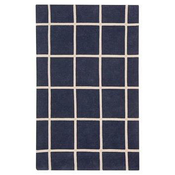 Boxter Plaid Rug, Navy/Stone