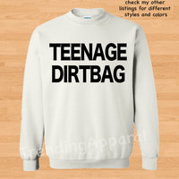 Teenage Dirtbag sweatshirt One Direction sweatshirt 1D fan art Hipster Crew Cool crewneck sweater