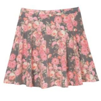 New Look Mobile | Teens Black and Pink Floral Print Denim Skater Skirt