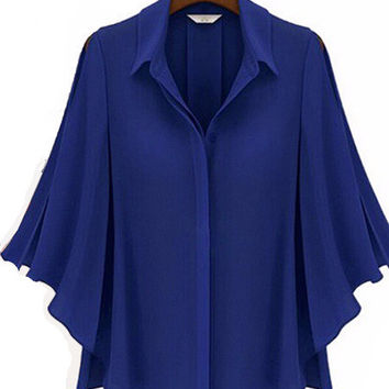 Convertible Collar Chiffon Ruffled Blouse
