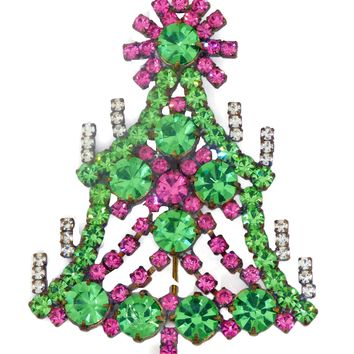 Husar D Pink and Green Rhinestone Christmas Tree Brooch