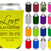 To Love Laughter & Happily Ever After Wedding Favor Koozies - Wedding Coozies - Custom Koozies for Weddings - Personalized Koozies