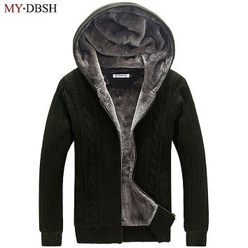Men Cardigan Sweaters Fall and Winter Plus Thick Velvet Hooded Zipper Cardigan Sweater Casual Knitted Fur Coats Free Shipping