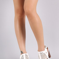 Buckled Caged Cutout Peep Toe Chunky Heel