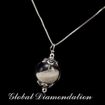 Sands of time filled glass globe necklace by GlobalDiamondation