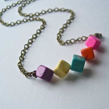 cube necklace - confetti