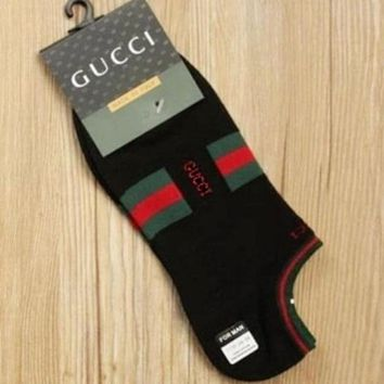 GUCCI Trending Women Men Letter Print Socks Black I