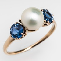 Antique Victorian Pearl & Blue Sapphire Ring 18K Gold 1900's