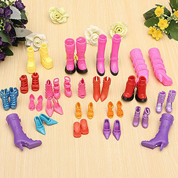 Mix 20 Pairs Fashion Shoes for Barbie Dolls Silicone High-heeled Sandals Boots For Barbie