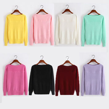 Free shipping Explosion models fall  winter sweater female Korean Slim solid color cashmere sweater bottoming