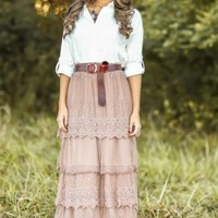 Graced With Love Maxi Skirt-Woodrose