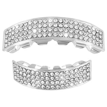14k White Gold Finish Grillz 4 Row Iced Out Halloween Sale