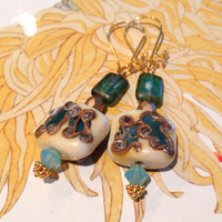 Cream Gold & Turquoise Lampwork Bead and Swarovski Crystal earrings 24Kt gold vermeil earwires - seafoam - blue - gilt - antique gold - teal
