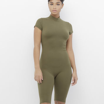 NOW YOU SEE ME BODYCON ROMPER - OLIVE