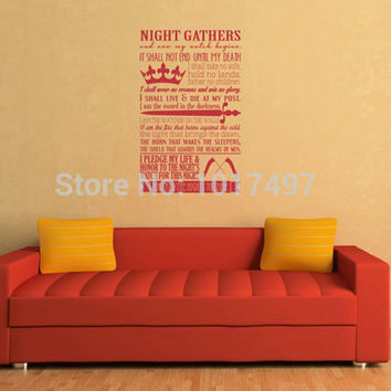 A Song Of Ice And Fire - Game Of Thrones Poster Night'S Watch Oath Vinyl Wall Art Decal Sticker